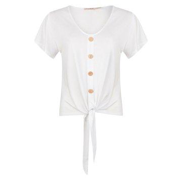 Esqualo T-shirt buttoned front knot wit