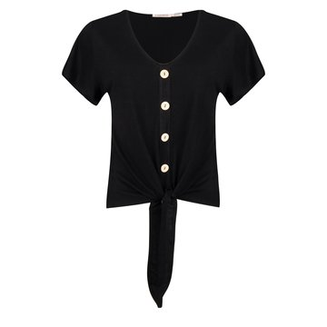 Esqualo T-shirt buttoned front knot zwart