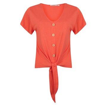 Esqualo T-shirt buttoned Front knot Coral