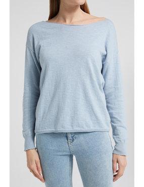 Yaya Cotton blend boat neck sweater misty blue