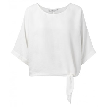 Yaya Oversized top with kimono sleeves and knotted detail pink blanc