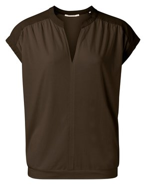 Yaya Fabric mix top with v-neck