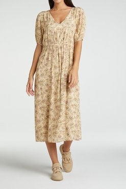 Yaya Printed maxi dress with with v-neck in viscose