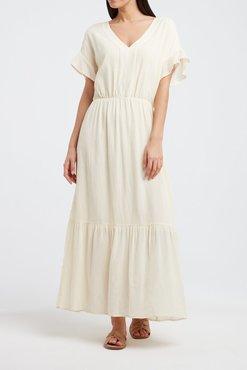 Yaya Voluminous maxi dress with ruffled sleeves