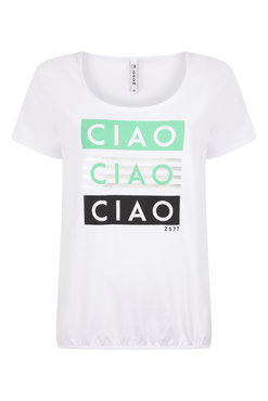 Zoso Ciao White/Green T shirt with print