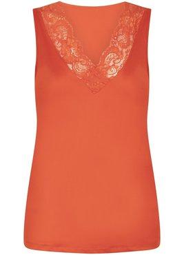 Tramontana Basic Top V-Neck Lace Orange