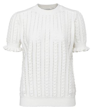 Yaya Mesh stitch sweater with ruffles at edge of sleeves  wool white