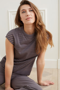 Yaya Double layer sweater with transparent stripes top layer Volcanic Glass Dark Grey