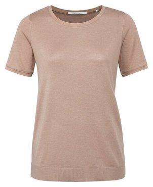 Yaya Short sleeve sweater with mesh stitch binding