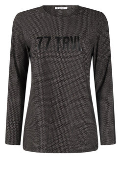 Zoso Stacey Taupe Travel shirt with print