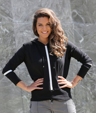 Zoso Didi Hooded sweater techprint  zwart