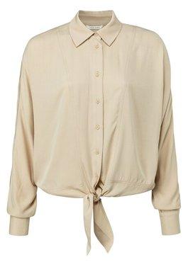 Yaya Boxy button up blouse with tie detail at bottom hem