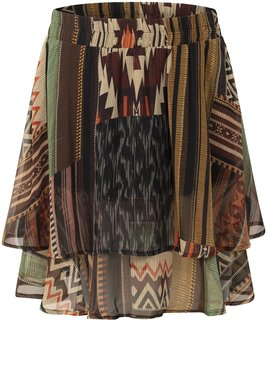 Tramontana Skirt Mini Chiffon Kilim Herit. Prt