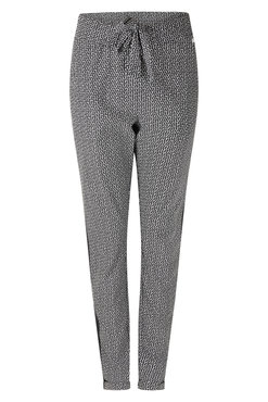 Zoso Isabel Black Printed travel pant with piping