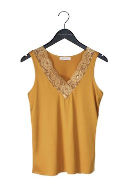 Tramontana Basic Top V-Neck Lace Curry
