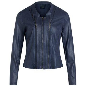 One Two Luxzuz Indigo Blue Athena jacket met ritsjes.