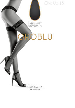 OROBLU CHIC UP ZWARTE 15 den lycra stay-up