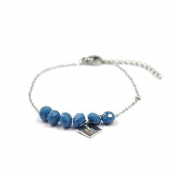 ZAG blue beads zilver armband