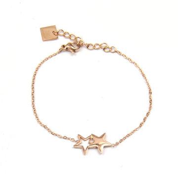 ZAG twin star rosegoud armband