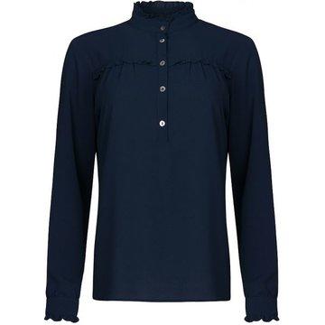 One two luxzuz hoge blauwe blouse.