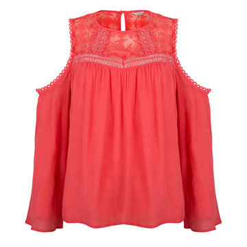 Esqualo Blouse lace bar shldr koraal