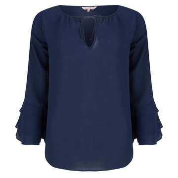 Esqualo Blouse ruffle solid navy