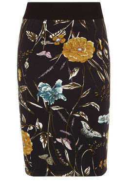 Tramontana Skirt Pencil Flower Print