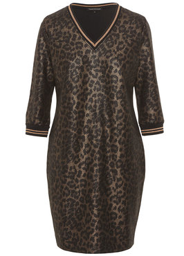 Tramontana Dress Coated Suedine Leopard