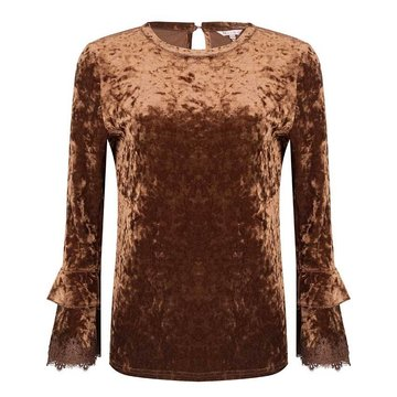 Esqualo Top crashend velvet lace brown