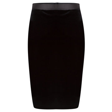 ESQUALO Skirt pencil velvet zwart