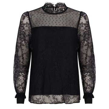 Esqualo Blouse mixed lace zwart