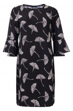 Dayz Niki - Geprinte jurk met 3/4 trompet mouw met split