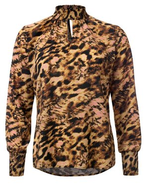 Dayz Stephanie - Printed blouse with smack neck and cuffs