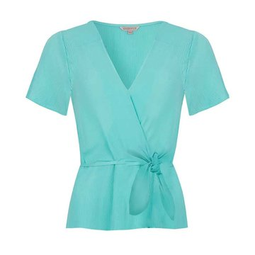 Esqualo Blouse V-neck knot Mint Green
