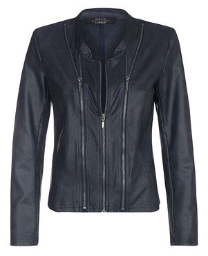 One Two Luxzuz blauw Athena suède coated jacket met ritsjes.