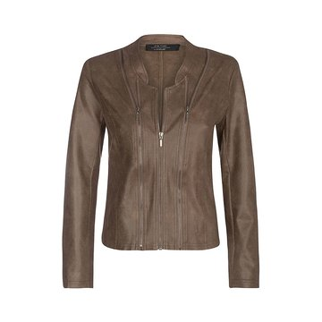 One Two Luxzuz Bark Bruin Athena suède coated jacket met ritsjes