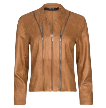 One Two Luxzuz cognac Leather Athena suède coated jacket met ritsjes