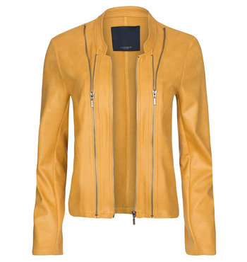 One Two Luxzuz Honey Gold Athena suède coated jacket met ritsjes