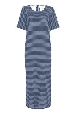 Ichi Ihmoto-dr3 blauw gestreepte jurk