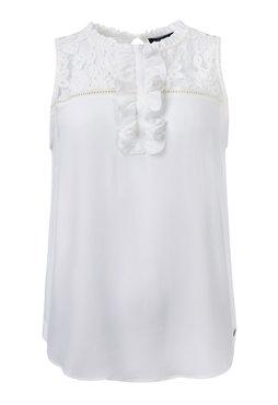 Dayz Wendela - Gebroken wit top met ruffel kraag en ruffel