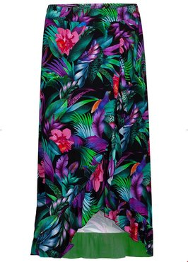 Tramontana Skirt Tropical Print Black Wrap
