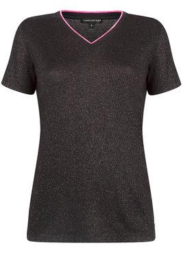 Tramontana T-shirt Lurex V-Neck Orchid