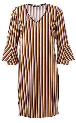 Dayz Pippa - Gestreepte jurk met trompetmouwen