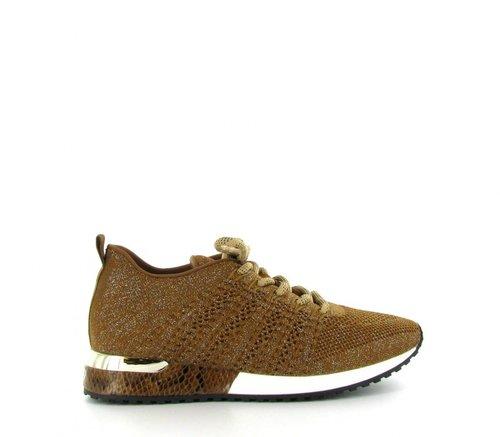 LA STRADA gevoerde bruine sneaker Tan/Silver