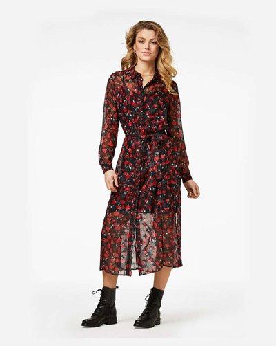 Freebird Helen Red Midi Dress Long Sleeve Flower