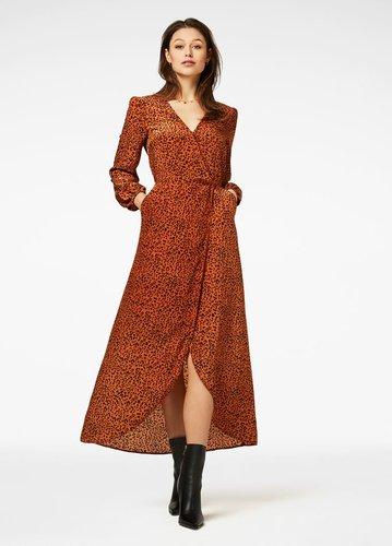 Freebird Ananda Rust Brown Maxi Dress Long Sleeve Leaf