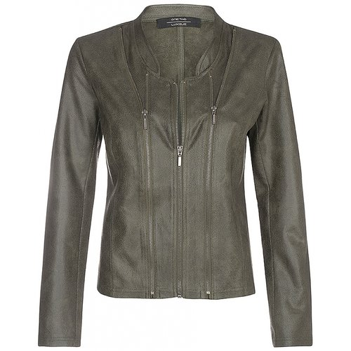 One Two Luxzuz Army Athena suède coated jacket met ritsjes