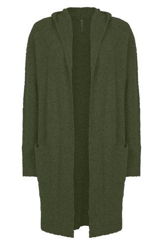 Zoso Megan Army Boucle vest met capuchon