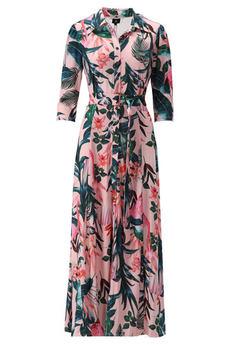 K-Design Maxi jurk met roze print