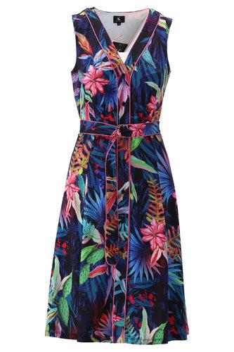 K-Design Mouwloze jurk met fleurige print